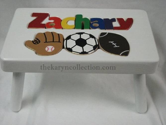 Sports Wooden Puzzle Stool