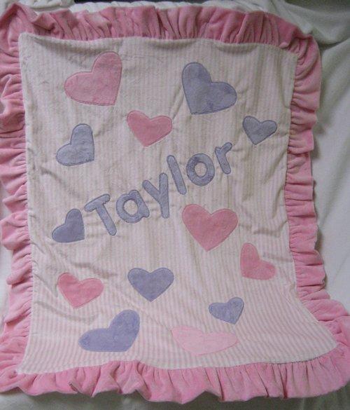 Pink & Lavender Hearts Minky Blanket