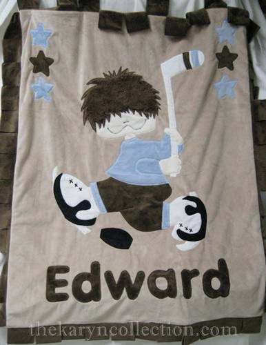 Edward's Blue & Brown Hockey Minky Blanket