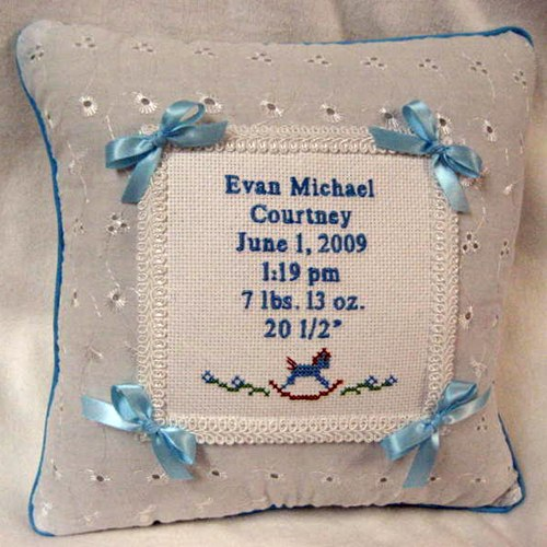 Musical Eyelet Pillow - Light Blue
