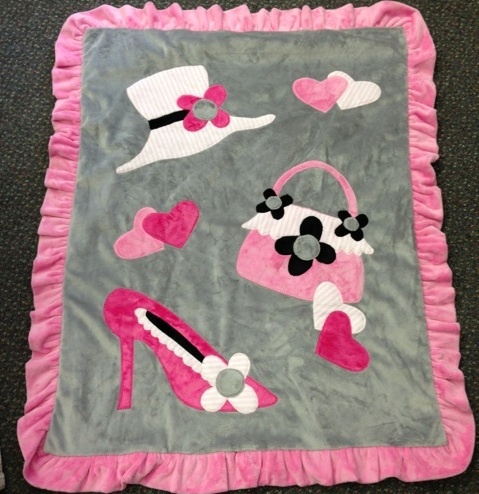 Pink & Grey- Shopping Minky Blanket