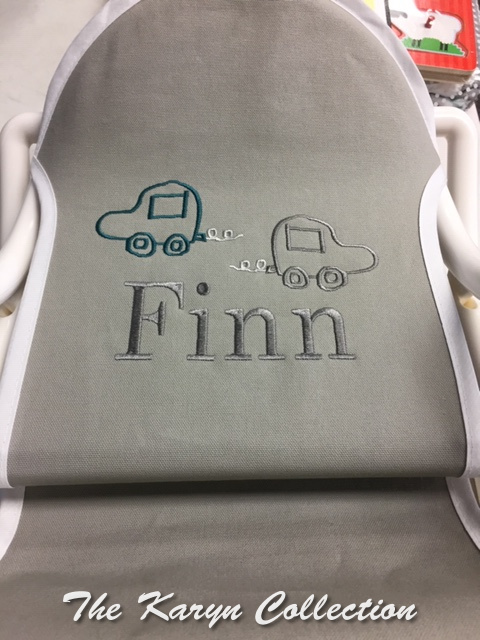 Finn's green and gray car rocking chair