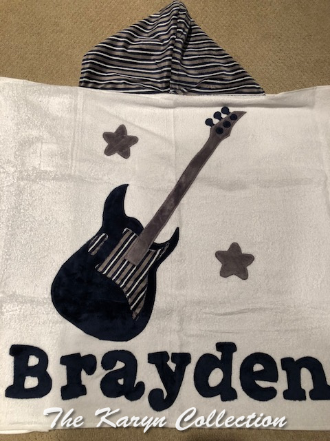 Brayden's Guitar Hooded Towel with appliqued name