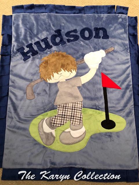 Hudson's hole in 1 MINKY blanket!