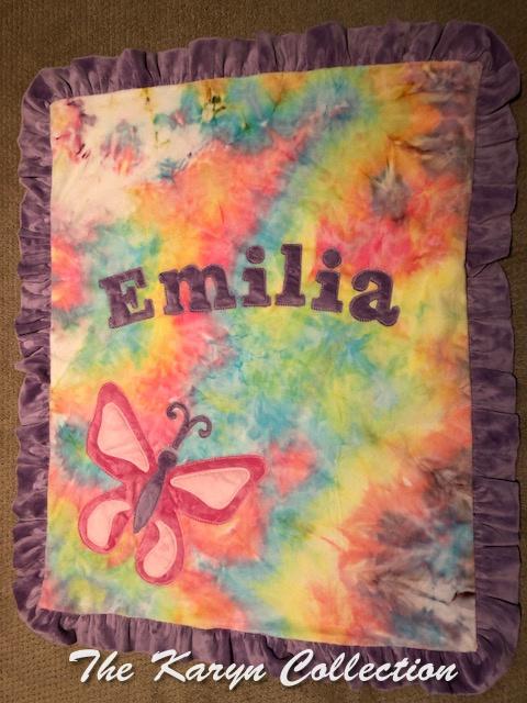 Emilia's tie dye basic butterfly blanket