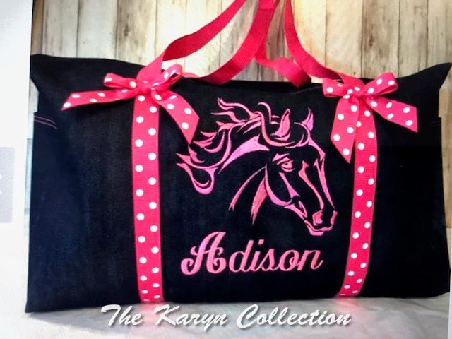 Adison's duffle navy (denim) with pink nylon trim and handles