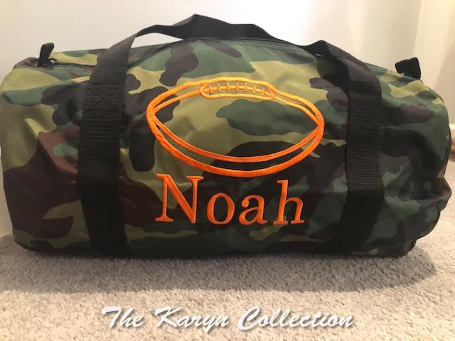 Noah's camo duffle bag with football monogrammed