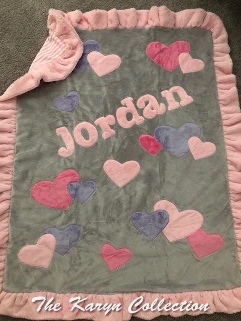 Jordan's Gray with shades of Pink Hearts minki blanket