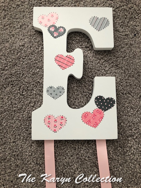 Patchword Hearts Barrette Holder in pinks and grays
