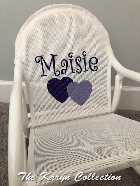 Maisie's Purple Hearts on White Rocker