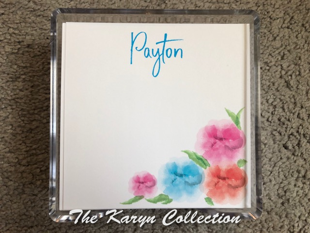 Payton's Watercolor Flowers Memo Square in lucite holder