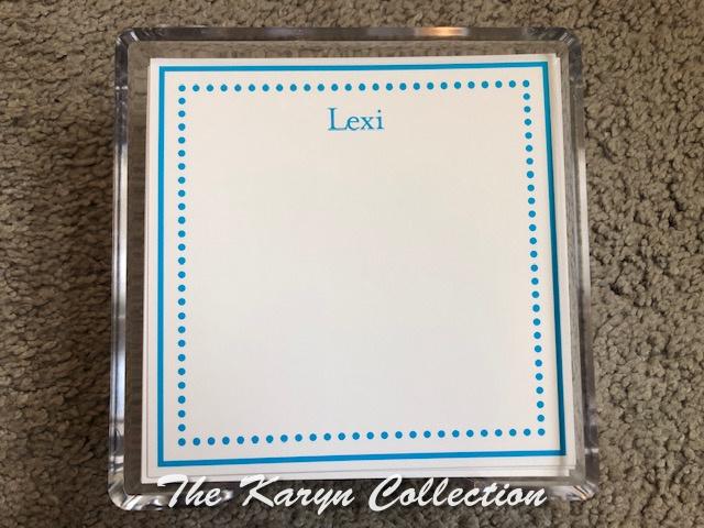 Lexi's Blue Dot Border Memo Squares in lucite holder