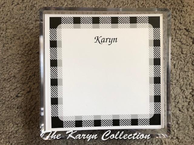 Karyyn's Gingham Border Memo Square with lucite holder