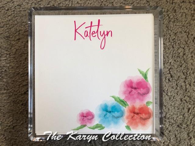 Katelyn's Watercolor Flowers Memo Square in lucite holder