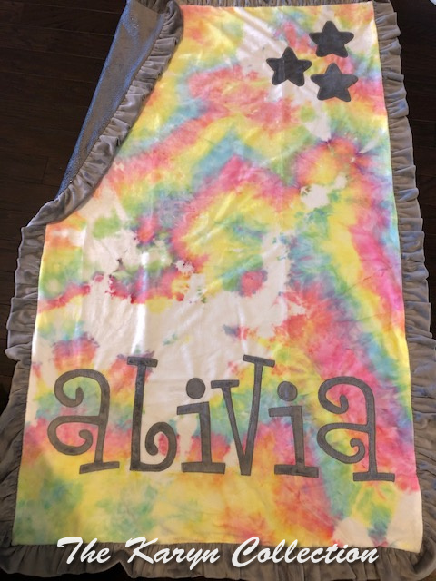 Alivia's Tie Dyed Toddler Blanket...with a touch of sparkle!