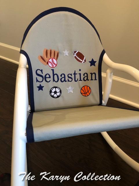 Sebastian's All Sports Rocker- gray canvass trimmed in navy