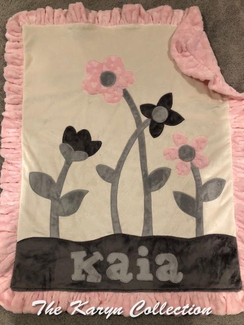 Kaia's Flower Garden minky Blanket