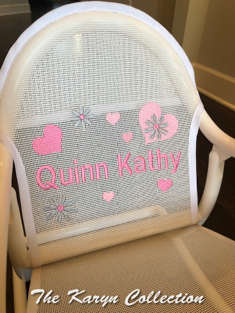 Quinn Kathy's White Rocker with Pink Hearts/Flowers