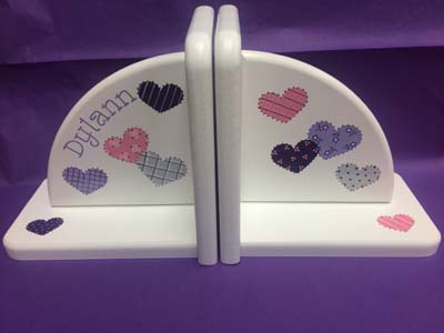 """Dylann's patchwork heart bookends in """"specific colors"""""""