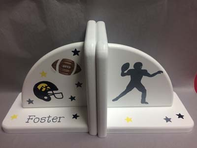 Foster's football themed bookends with player silhouette