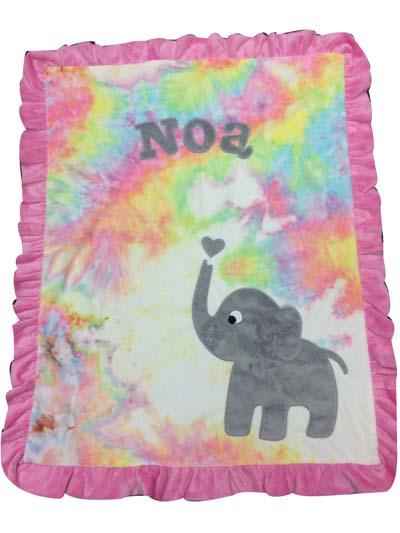 Basic tie dye elephant blanket for Noa