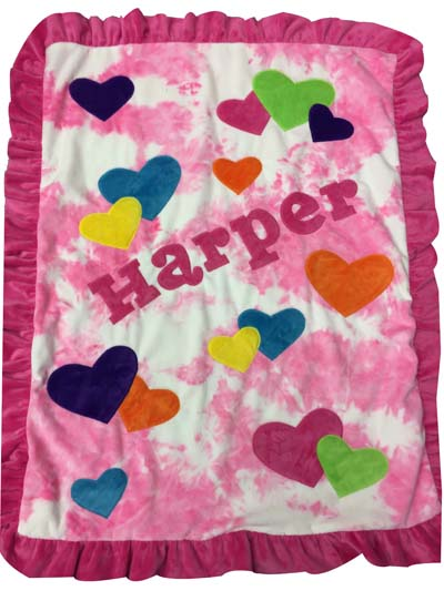 Harper's heart blanket on tie-dye pink
