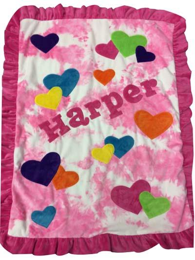 Harper's heart blanket on tie-dye pink
