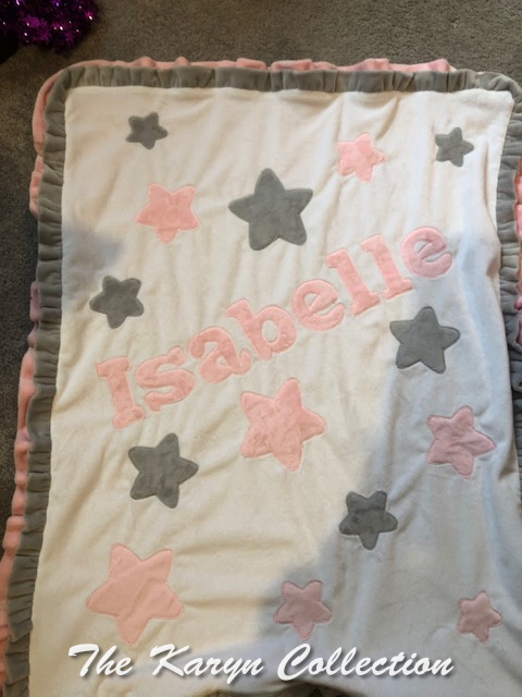 Isabelle's ALL STAR minky blanket in pinks and gray