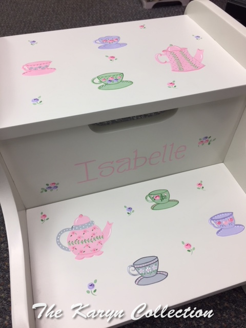 Isabelle's Teapots and Teacups 2 Step Stool