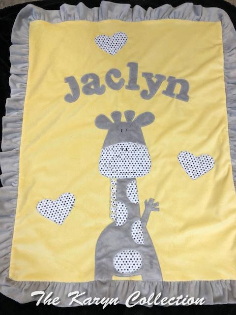 Jaclyn's Giraffe MINKY Blanket in Yellow and Gray