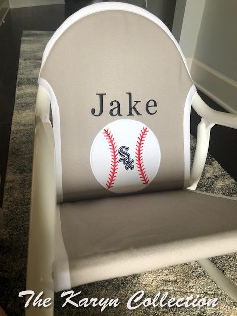 Jake's White Sox baseball rocker on lt.gray trimmed in white