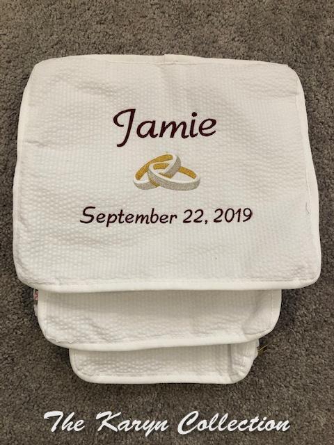 Jamie's all white seersucker 3 piece travel set