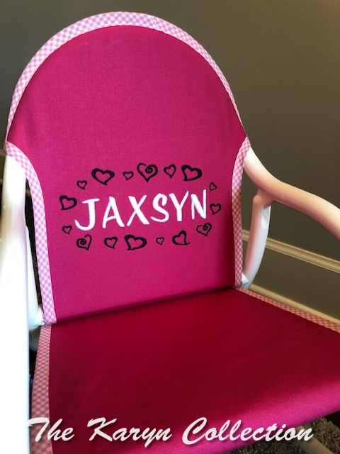 Jaxsyn's circle hearts on hot pink rocker