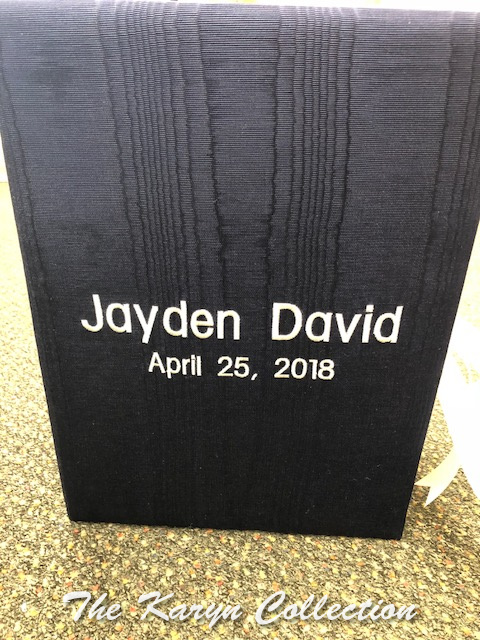 Jayden's Navy Moire Memory Box with Name and Date
