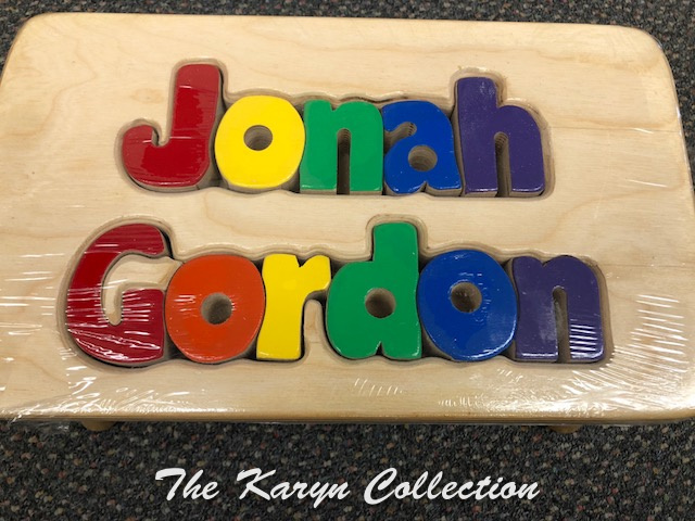 Jonah Gordon's  Puzzle Stool with First and middle names