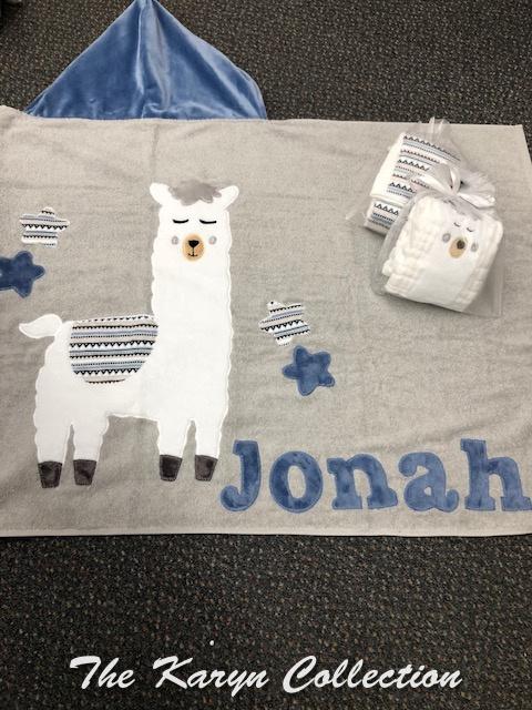 Jonah's llama toddler towel