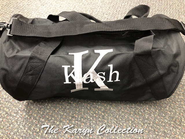 Kash's Black Duffle with name and Initial