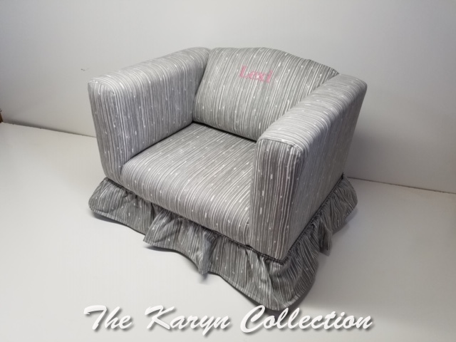 Lexi's Upolstered fabric chair with ruffle