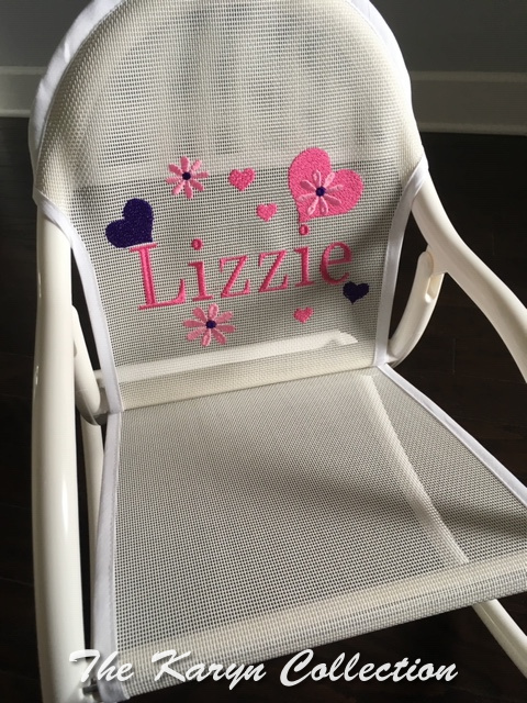 Lizzie's all white mesh with hearts and daisies