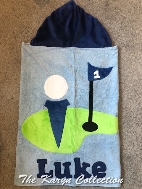 Luke's appliquéd golf towel on lt Blue