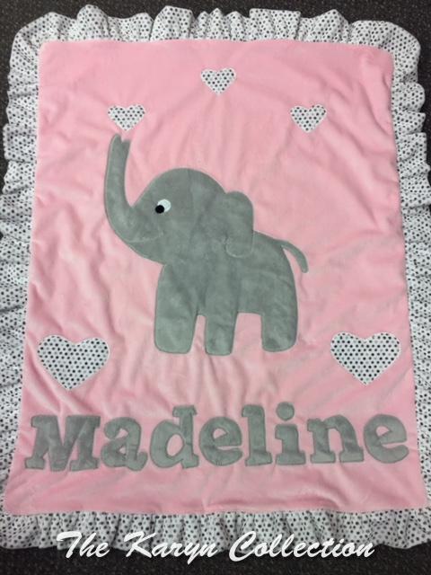 Madeline's Elephant Minky Blanket