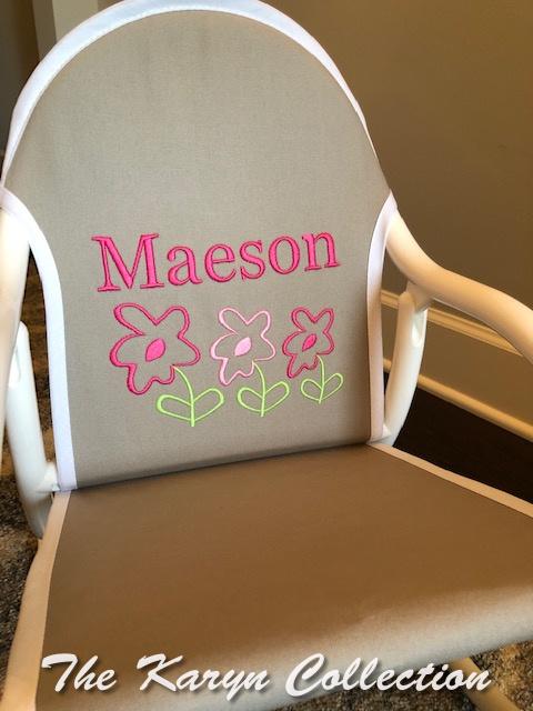 Maeson's gray with white trim 3 daisies rocker