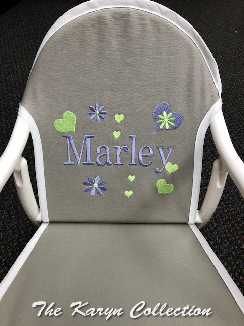 Marley's Lime and Lavender Hearts and Daisies on Gray canvass