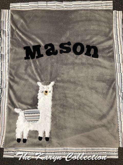 Mason's Basic Blanket in our llama Design