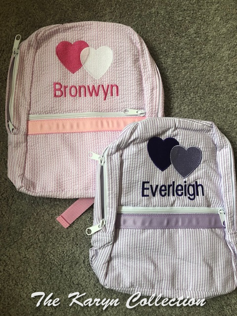 Matching Backpack for Twin Girls in seersucker