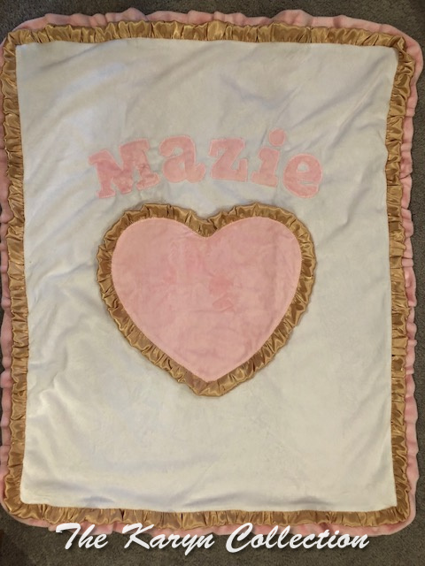 Maxie's pink and gold heart blanket
