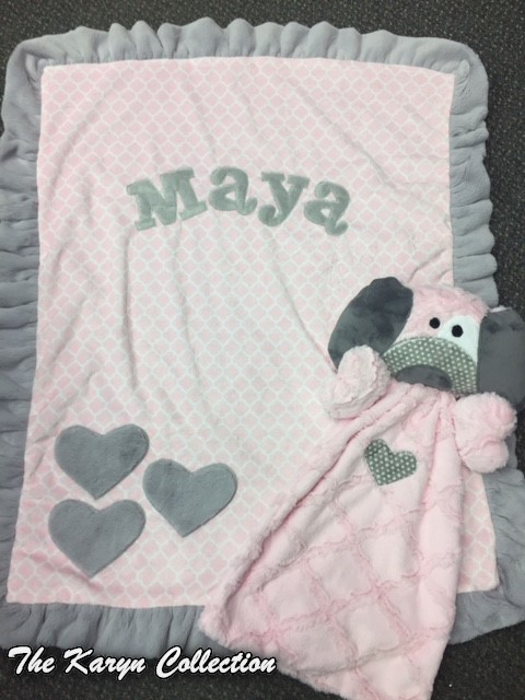 Maya Blanket with  MATCHING Lovey *** note fabric change****