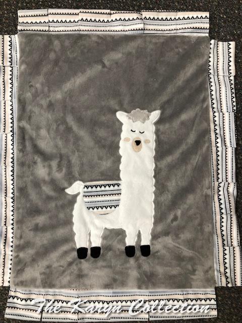 Mini Minki Blanket- Llama Boy Color with Fringe