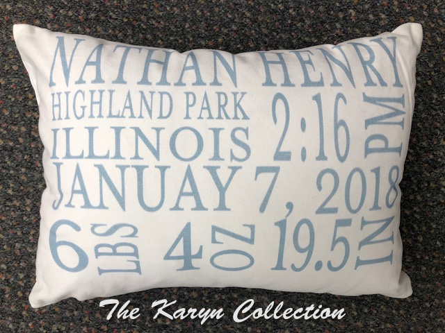 Nathan's Birth Pillow in Slate Blue