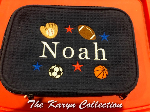 Noah's navy waffle Dopp bag with circle sports